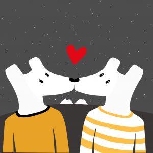 ilustración perros enamorados